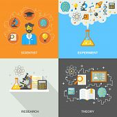 pic of experiments  - Science and research design concept set with scientist theory and experiment flat icons isolated vector illustration - JPG
