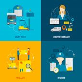 foto of warehouse  - Logistic design concept set with warehouse manager and courier flat icons isolated vector illustration - JPG
