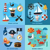 stock photo of marines  - Nautical design concept set with captain ship equipment marine animals flat icons isolated vector illustration - JPG