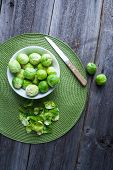 foto of brussels sprouts  - brussels sprouts on old wood table - JPG