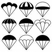 pic of parachute  - Monochrome Parachute Symbols Icons Set Vector Illustration - JPG