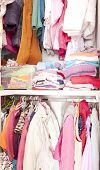 foto of wardrobe  - A wardrobe full of colored child clothes - JPG