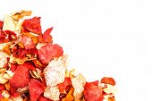 stock photo of batata  - Crispy Colorful Root Vegetable chips isolated on white with copyspace - JPG