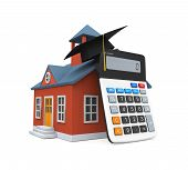 stock photo of school building  - School Building Icon and Calculator isolated on white background - JPG
