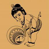 pic of krishna  - little Krishna inverted pot on a beige background - JPG