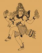 picture of shiva  - Indian god Shiva on a beige background - JPG