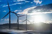 picture of generator  - Wind turbine power generators silhouettes at evening ocean coastline - JPG