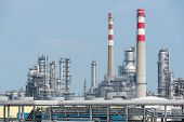pic of chimney  - Industrial landscape with chimneys tank - JPG