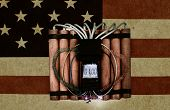 picture of time-bomb  - Time bomb on vintage american flag Close up shot - JPG