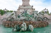 stock photo of bordeaux  - View of Monument des Girondins fountain in Bordeaux France - JPG