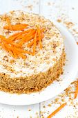 image of sponge-cake  - Delicious sponge cake with walnut crumbs and carrot slices on top on white background - JPG