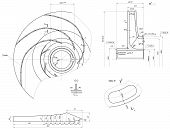 foto of degree  - Expanded sketch of engineering wheel with blades - JPG