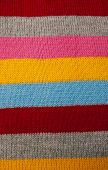 image of knitting  - striped knit woolen texture fabric multicolor background - JPG