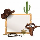 image of shooting stars  - Cowboy Frame with hat - JPG