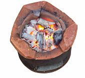 stock photo of brazier  - Charcoal brazier with cooking fire isolated on white background and clipping path - JPG