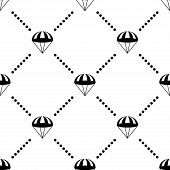 picture of parachute  - Parachute Symbols Monochrome Vector Seamless Pattern Background - JPG