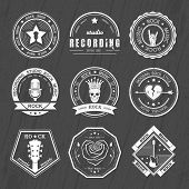picture of recording studio  - Set of badges rock music and recording studios - JPG