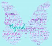 image of fibromyalgia  - Thyroid butterfly shaped word cloud on a blue background - JPG