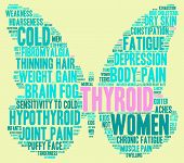 foto of fibromyalgia  - Thyroid butterfly shaped word cloud on a yellow background - JPG