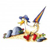 image of duck  - Childish funny duck illustration with boots and umbrella - JPG