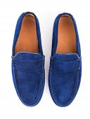 pic of loafers  - Blue male suede leather loafers pair isolated on white background - JPG