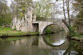image of serenity  - Springtime is coming river and little bridge serene landscape - JPG