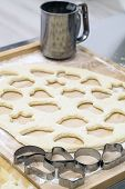 picture of flour sifter  - Dough with cookie cutters Cakes and sweet food preparation - JPG