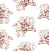 stock photo of rose bud  - Seamless pattern of hand drawn rose buds  - JPG