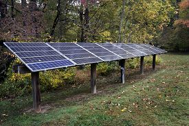pic of solar battery  - Horizontal shot of solar energy panels in between trees - JPG