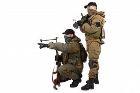 stock photo of ak-47  - insurgents with AK 47 and RPD machine gun isolated on white background - JPG