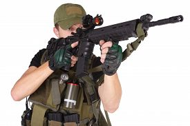 stock photo of m16  - rifleman with m16 rifle isolated on white - JPG