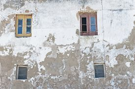 pic of jalousie  - Two classic jalousie windows in old house wall - JPG