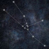 Постер, плакат: Taurus Constellation Zodiac Sign Taurus Constellation Lines Galaxy Background