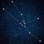 Постер, плакат: Taurus Constellation Zodiac Sign Taurus Constellation Lines Galaxy Background