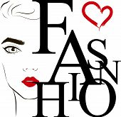 Fashion Label With The Face Of Fashionable Young Woman With Red Lipstick On Her Lips. Fashion Vector poster