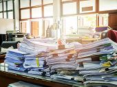 Close Up Of Business Documents Stack On Desk , Report Papers Stack poster