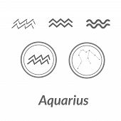 Постер, плакат: The Water bearer Aquarius Sing Star Constellation Vector Element Age Of Aquarius Constellation Zod