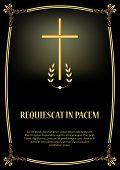 Luxurious Obituary Template With Golden Cross, Golden Vintage Frame And Light. Elegant Luxurious Fun poster
