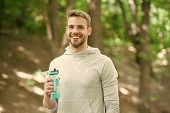Athlete Satisfied Face Hold Bottle Care Hydration Body After Workout. Refreshing Vitamin Drink After poster