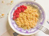 Bowl Of Oatmeal Porridge With Fresh Strawberries And Raspberries.healthy Breakfast. Flat Lay, Top Vi poster