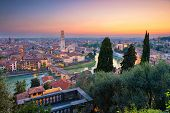 Verona, Italy. Cityscape Image Of Verona, Italy During Sunset. poster