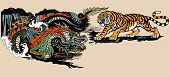 Green Chinese East Asian Dragon Versus Tiger . Two Spiritual Creatures In The Buddhism Representing  poster