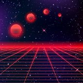 Dark Abstract Background Made In 80s Style. Abstract Background With Neon Grids And Starry Sky And M poster