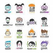 Geek Logotypes. Identity For Smart Kids Computer Programmers Educational Vector Design. Illustration poster
