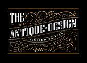 Antique Frame Label Western Hand Drawn Border Typography Engraving Vintage Retro Vector Illustration poster