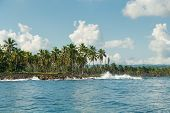 Travel Vacation Tropical Destination. Small Tropical Island Landscape. Travel Vacations Destination. poster