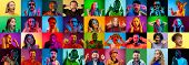 The Collage Of Faces Of Surprised People On Colored Backgrounds. Happy Men And Women Smiling. Human  poster