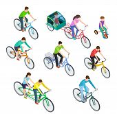 Isometric People Bike. Man Woman Riding Bikes Outdoor, Bicyclists. Active Family Biking. Cyclist Bic poster