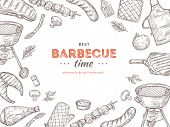 Vintage Bbq Poster. Barbeque Doodle Grill Chicken Barbecue Grilled Vegetables Fried Steak Meat Picni poster