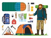 Man Tourist With Backpack And Isolated Icons For Journey Or Travel. Tent And Camp, Fire And Lighter, poster